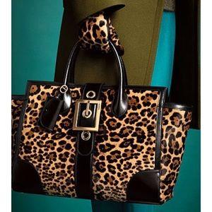 Gucci lady buckle jaguar pony hair top handle bag